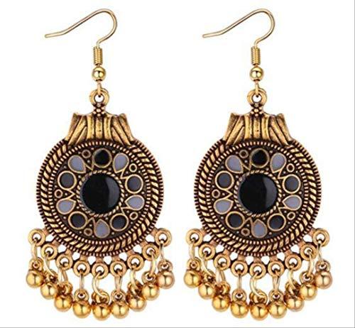 Tanz Kostüm Indischen Klassischen Der - CSJ Ohrringe Ethnische Vintage Quaste baumelnde Ohrringe für Frauen Stil Ohrringe indischer Schmuck schwarz