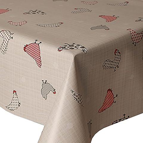 PVC Mantel pollos 2m ovalada (200x 140cm), Multi Lunares de lunares, controles Hearts Floral, rojo gris beige pizarra negro y crema, limpiar, vinilo/plástico