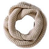 Pixnor - Écharpe foulard tour de cou en tricot chaud, longue boucle, pour femmes et hommes (beige), marron