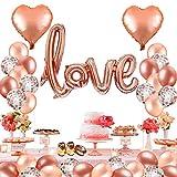 MMTX 42 Stück Folienballon Helium Herz Hochzeit Luftballons, Rose Gold Latex Ballon für den Valentinstag, Hochzeit Brautdusche, Muttertag,Geburtstag und Baby-Dusche Dekoration,fête des mères.
