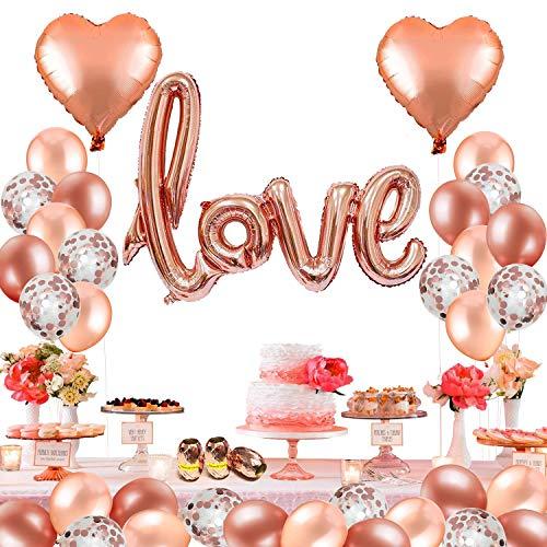 MMTX 42 Stück Folienballon Helium Herz Hochzeit Luftballons, Rose Gold Latex Ballon für den Valentinstag, Hochzeit Brautdusche, Muttertag,Geburtstag und Baby-Dusche Dekoration. (Mit Band)