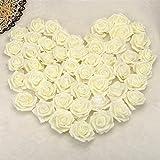 seebesteu Lot de 50 pcs Roses Artificielles de 7 cm en Mousse Fleurs Artificiel pour Bouquet de Mariée Décoration DIY pour Mariage Fête Maison (Crème, 50 pcs)