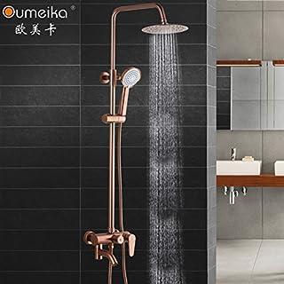 Shower head space aluminum shower set rose gold shower head lift shower taps