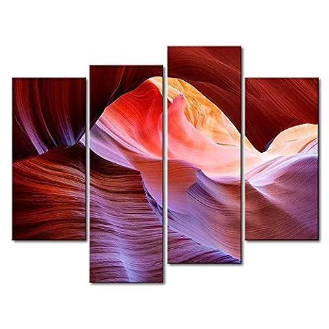 4Panel Art Wand Bild Antelope Canyon Valley Pink Bilder Prints auf Leinwand Landschaft der Decor Öl für Home Moderne Dekoration Print für Jungen Schlafzimmer