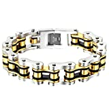 Oidea Armband für Herren Armband aus Edelstahl groß Poliert Gold