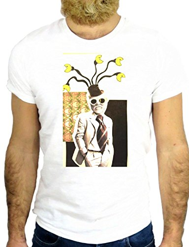 T SHIRT Z0973 FLOWER COOL ANDY PEINTURE VINTAGE NICE HIPSTER USA AMERICA NY GGG24 BIANCA - WHITE