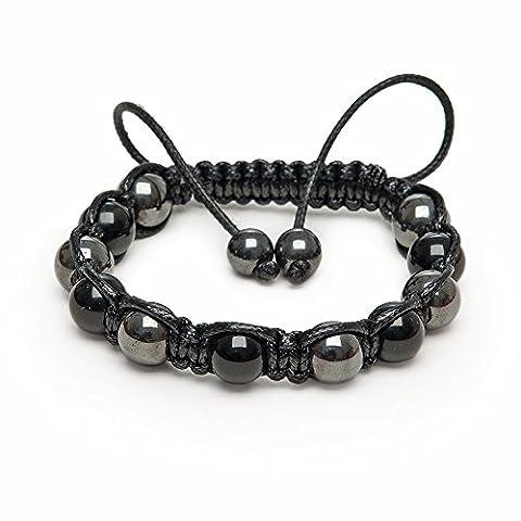 Hematite and Black Onyx healing beads mens MADE IN BRITAIN Shamballa Friendship bracelet genuine semi precious stones