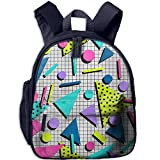 Lovely Schoolbag Retro Geometric Marble Double Zipper Waterproof Children Schoolbag Backpacks with Front Pockets for Teens Boys Girls