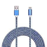Zoresyn 3M / 10FT Extralanges USB Lightning Kabel MFi Zertifizierte Datenkabel Ladekabel Nylon kompatibel mit Apple iPhone 6 Plus/6 /5/5S/6s iPad 4 iPad Mini/Air iPod 5 und iPod7 mit neuestem iOS-Update(Blau und Weiß)