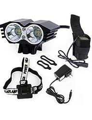 Owl bicicleta LED 5000 lumens XML U2 LED luz de la bicicleta impermeable bicicleta + batería + cargador lámpara interruptor 4 modos (negro)
