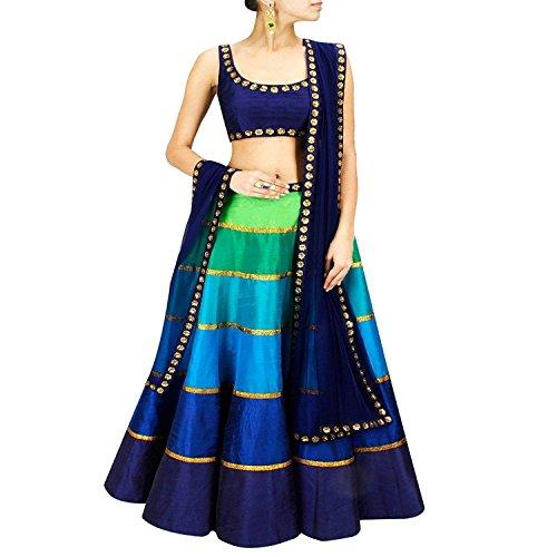 Purva Art Womens Multi-Color Banglori Silk Semi-Stitched Rainbow Lehenga Choli (RLC_0452_Embroidery Work_Free...