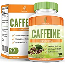 Pastillas de Cafeína - Alta Concentración - 200 mg - Estimulante Natural - Comprimidos Concentrados de Cafeína - Para Hombres y Mujeres - Apto Para Vegetarianos - 90 Pastillas (Suministro Para 3 Meses) de Earths Design