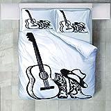4 Teilige Bettwäsche Set Musik Musikinstrumente Gitarrenstiefel Hüte Gedruckt Polyester Bettbezug Mit Kissenbezügen Bettbezug Set Pflegeleicht Weich Glatt Geeignet Für Alle Jahreszeiten