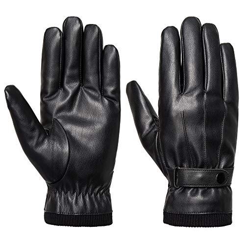 Acdyion Herren Winter Leder Handschuhe Touchscreen Dicke Warm Fleecefutter Lederimitat Winterhandschuhe für Outdoor Autofahren Radfahren, Schwarz, L