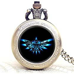 Legend Of Zelda Triforce Logo Quartz Pocket Watch Necklace - Antique Bronze Effect - GIFT BOXED WITH FREE SPARE BATTERY