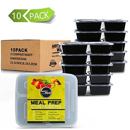 [10er Pack] 3-Fach Meal Prep Container Set Mikrowellenfest Lock Dosen,Frischhaltedosen,Essen box Sets BPA-Frei (Gericht Kalifornien)