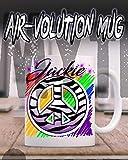 Mythic Airbrush Personalizada Airbrushed sesión paz de la cebra taza de cerámica Blanco