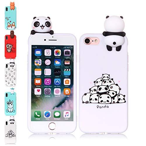 LA-Otter kompatibel füriPhone 5 5S SE Hülle Silikon UltraDünnSlim GummiBumperFolieSchutzhülleHandyhülleTascheSchalemit3D Motiv Muster Pandas Liebe