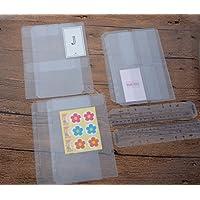Funcoo - Bolsillos de plástico con 6 anillas para carpetas, tarjetas de crédito, juego de 6 carpetas de recambio para cuaderno y 2 marcadores de páginas de plástico A5