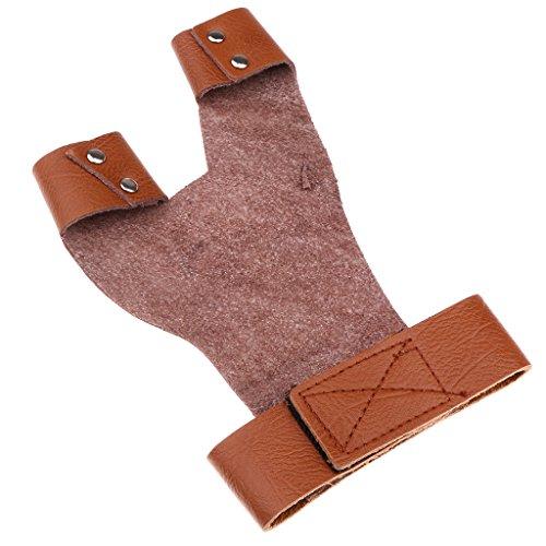 MagiDeal Bogenschießen Handschuh, Traditionell Leder Schießhandschuh, 2 Finger linke Hand - Braun