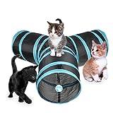 TFENG Katzenspielzeug Katzentunnel, 3-Wege Katze Spielzeug Spieltunnel Faltbarer Tunnel für Kaninchen Hasen Katze Hunde, Kleintiere Haustier