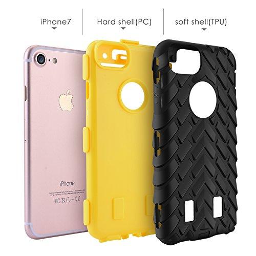 iPhone 7 Hülle, Pasonomi [Dual Layer] [Tough Armor] Shockproof Case Handy Schutzhülle für Apple iPhone 7 4,7 zoll (Gelb) Gelb