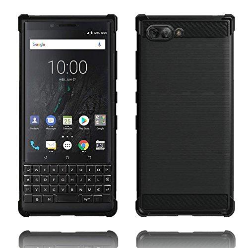 Voviqi BlackBerry KEY2 Hülle, Tasche mit Stoßdämpfung Robuste TPU Silikon Schutzhülle Stylisch Karbon Design Handyhülle Case Hülle für BlackBerry KEY2 (Schwarz)