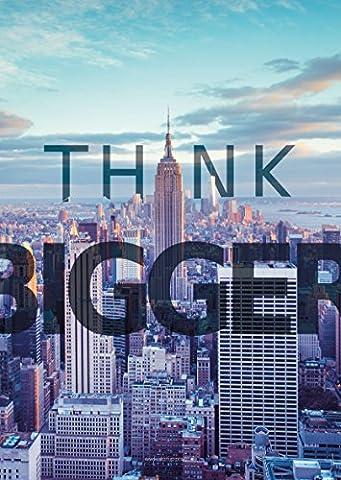 "Gusti Products poster ""Think bigger"" phrase de motivation citation motivante pour entreprise start-up proverbe inspirant affiche design message inspirant DIN A2 PO-4"