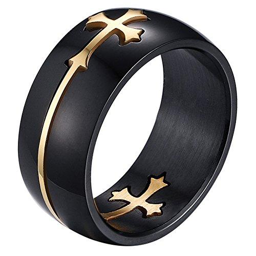 Oidea Herren Edelstahl Ring, 8mm Retro Polished Schwarz Verlobungsringe Trauringe mit abziehbar Gold Kreuz Kruzifix, Größe 74