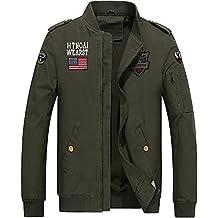 INFLATION Herren Vintage Uniform Übergangsjacke Militär Stil Bomber Jacke Pilot Jacke mit Schulterstück Stehkragen 3 Farben, DE S-3XL