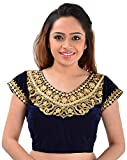 Youth Mantra Embroidered Mirror Work Blue Velvet Blouse(Unstitched)