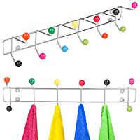 12 Hook Chrome Clothes Coat Storage Rack Multi Coloured Hooks Balls