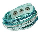 LeatherWear Damen Strass Armand Wickelarmband Kristalle türkis blau weiß edles Alcantara Nieten mit Druckknöpfen zum verstellen