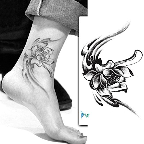 Yeeech Temporary Tattoos Adult Flower Black Small Lotus for Women Ankle Foot Leg Tribal Sexy Arm 70s Floral Waterproof Body Art Sticker Makeup 4 Sheets (Girl Black Lotus)