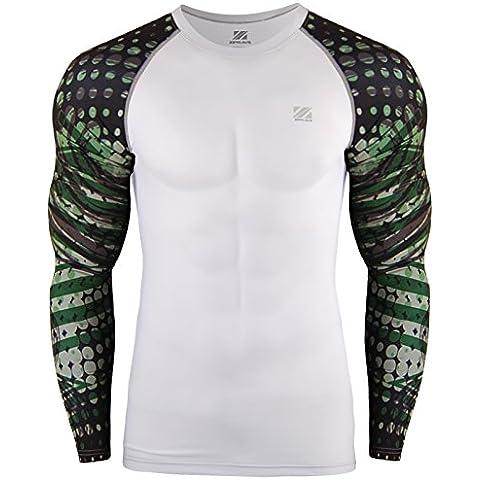 zipravs compressione magliette a maniche lunghe Donna Uomo CrossFit, Jiu