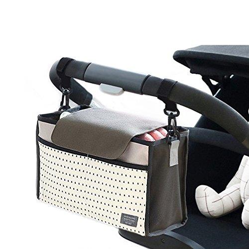 Buggy Poussette Organisateur Bag-in-Bag, Airlab Buggy Stroller Organizer avec couvercle et compartiments, imperméable à l'eau, gris