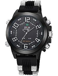 Alienwork DualTime Reloj Digital- Analógico XXL Oversized LED Multi-función Poliuretano negro negro OS.WH-5202-02