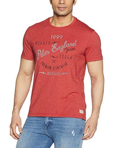 Peter England Men's Plain Slim Fit T-Shirt (JKC51708329_LightGreyWithRed_Large)