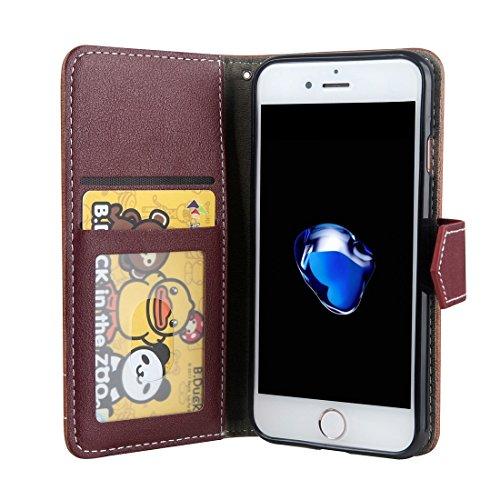 Wkae Retro verrückte Pferd Textur Kontrast Farbe Horizontale Flip Leder Tasche mit Halter & Card Slots & Wallet & Foto Frame & Lanyard für iPhone 7 ( Color : Brown ) Brown