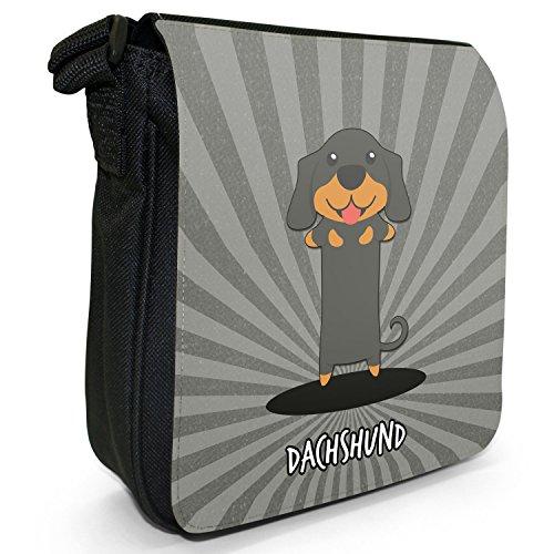 Tedesco Cartoon cani piccola borsa a tracolla tela nera, misura piccola Dachshund, Teckel, Weenie Dog
