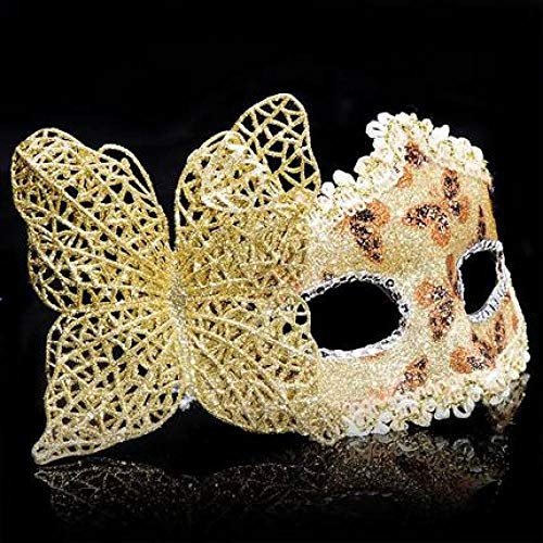 Kostüm Masquerade Princess - Halloween Maske Realistische Neuheit Kostüm Party Maske Latex Maske,Female half face sexy princess erotic makeup child adult male Venice performance show 4pc, 4pc_gold