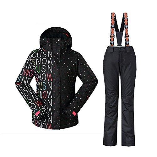 Wonny 2 Teilig Skianzug Wasserdicht Schneeanzug Jacke und Hosen Unisex Skiset Schwarz L