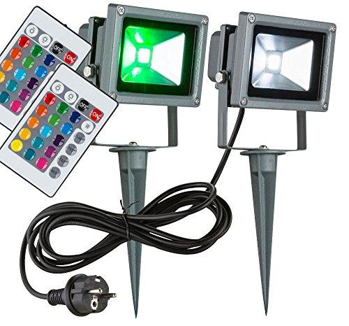 2er Set RGB LED 10 Watt Außen Strahler Fernbedienung Fluter Farbwechsler Scheinwerfer