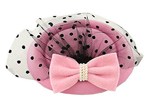 Damen Fascinator Hut Pillbox-Hut-Cocktail-Party-Hut mit Schleier-Haare-Klipp-Korn Bowknot (Rosa)