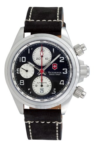 Swiss Army Chrono Pro Automatic Chronograph Steel Mens Watch Black Dial Calendar 241187