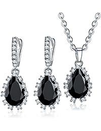 CARSINEL Clásica Circonita Cúbica Compromiso Conjuntos de joyas para las mujeres regalos lágrima de collar y pendientes (negro)