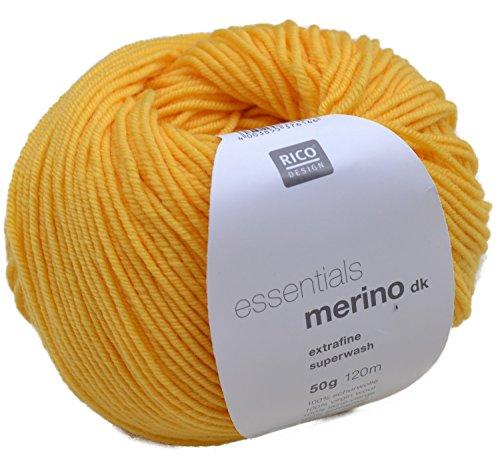 Merinowolle extrafine Rico essentials Merino dk Fb. 65 sonnengelb Wolle zum Stricken & Häkeln