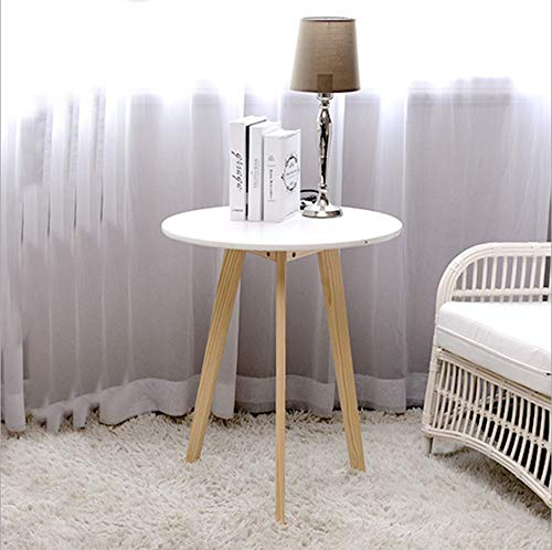 Table Ronde De Loisirs Créative Bois Balcon Basse Petit Appartement Ronde48 * 48 * 60cm (Couleur : Blanc, Taille : Available in a Variety of Sizes)