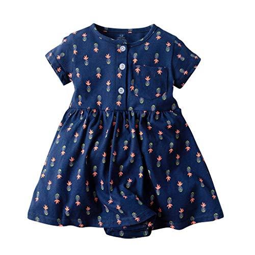 Mädchen Kleid Kurze Ärmel Blumen Prinzessin Falten Kleider (Color : Navy, Size : 6M) ()