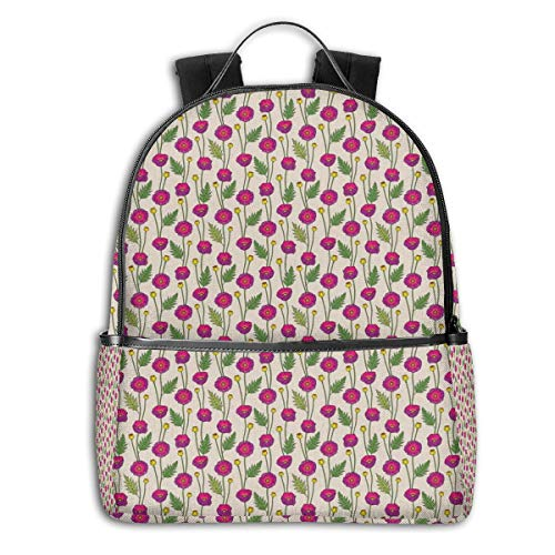 College School Backpacks,Colorful Abstract Poppy Flowers and Buds On Neutral Backdrop,Casual Hiking Travel Daypack -